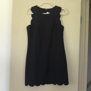 JCrew Black Scallop Dress 6